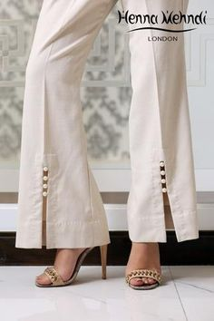 Cream Embellished Trousers
