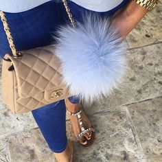 Instagram/Blogger Recommended Fur bag charm fur pom pom keychain fur ballkeyring purse pendant in pale blue or pale pink