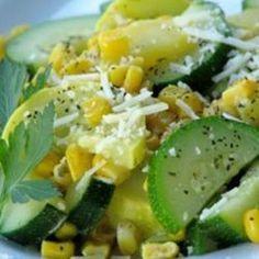 salad, veggi, food, garlicki summer, summer squash, eat, recip, fresh corn, side dish