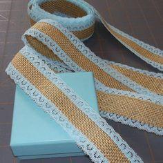 burlap and tiffany blue lace ribbon