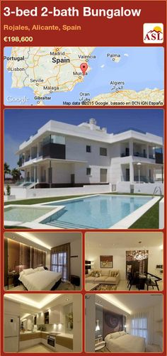 Bungalow for Sale in Rojales, Alicante, Spain with 3 bedrooms, 2 bathrooms - A Spanish Life Valencia, Portugal, Bungalows For Sale, Alicante Spain, Think On, Private Garden, Mediterranean Sea, Murcia, Design Thinking