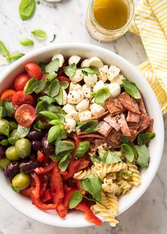 An Italian Pasta Salad with Homemade Italian Dressing loaded with all things Italian! Because if you're going to make a giant pasta salad - make it right!
