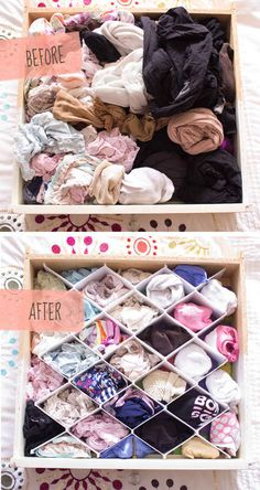 Mantén el cajón desbordante de la ropa interior bajo control con divisores.