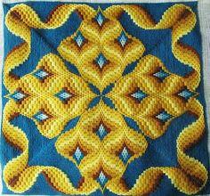 Bargello needlepoint, border and four-way Bargello motifs