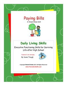 Paying Bills is part of Susan Traughs 12-volume Daily Living Skills series offering transitional skills for mild-to-moderately affected special needs students and general education students alike.  Written on a high third/low fourth grade level with airy-pages and bullet-point information for easy independent study, these books, nevertheless, respect teens maturity and humor while presenting federally mandated, Indicator 13 skills needed for adult independence.