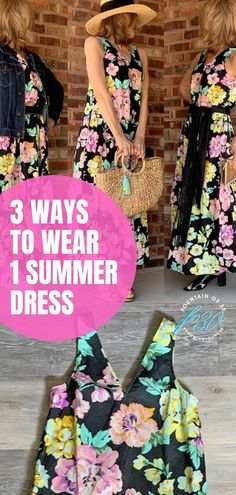 I put together 3 different looks with this same floral maxi dress for 3 different occasions. I know there are many more ways to style it too. This is a perfect dress to pack for a summer or warm weather vacation. Here's how you can wear one summer floral dress for day, to the beach and for an evening event. #fashion #over40 #summer #outfit #style Summer Outfit, Summer Dresses, Summer Fashions, Floral Maxi Dress, Warm Weather, Work Wear, Style Me, Trends, Vacation
