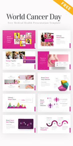 Free World Cancer Day – Medical Health Presentation Template #PowerPoint #PPT #template #free