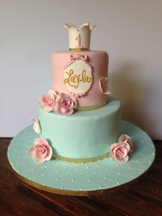 Shabby chic themed birthday cake for a very special little 1-year old girl. Pink velvet with cream cheese icing on top, vanilla with vanilla bean buttercream on bottom.