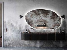 This beautiful aparmtnet, called Warsaw-Paris, was created by Atelier Creative Varsovie, where the design is by Magdalena Radałowicz-Zadrzyńska and the. Bathroom Spa, Modern Bathroom, Bathroom Mirrors, Washroom, Bathroom Ideas, Zebra Bathroom, Gray Bathrooms, Target Bathroom, Bathroom Mirror Design