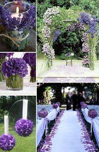 El lila y el púrpura son los colores protagonistas de estas imágenes sobre decoración de bodas. ¿Qué os parece? ¿Encajan con vuestro estilo?
