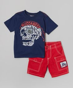 Loving this Navy & Red 'Ahoy' Tee & Shorts - Toddler on #zulily! #zulilyfinds