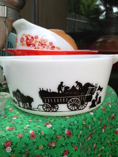 JAJ farming scene silhouette bowl, photographed and shared by Fidget_cat, via Flickr. JAJ (JA Joblings) was the manufacturer of Pyrex in England.