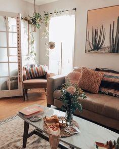 50 Awesome Bohemian Living Room Decor Ideas « Home Decoration Interior Design Living Room, Living Room Designs, Kitchen Interior, Home Living Room, Living Room Decor, Decor Scandinavian, Design Salon, Cozy House, Room Inspiration