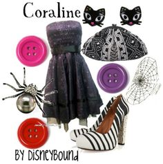 Coraline by Disney Bound... I'd love to wear this as grown up dress up. Sigh, I can't wear heels.