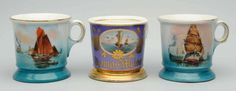 Porción # : 13 - Lot of 3: Boat Shaving Mugs.