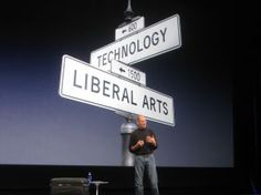Jobs says Apple's success comes from being at the intersection of technology and the liberal arts.