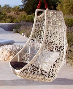 Hanging Chair MAIA by @KETTAL | #Design Patricia Urquiola #outdoor #garden. Upstairs patio in black.