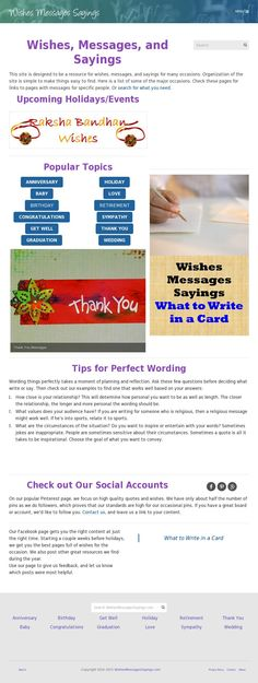 I visit the website wishesmessagessayings.com when I need to write in a card and don't know what to say.