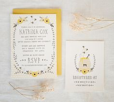 Baby Shower Invitation and Registry Card - Honey Bee. Baby Girl OR Baby Boy