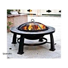 Patio Fire Pit Table Fireplace Deck Yard Round Slate Wood Burning Garden Firepit #Dover #patiofirepit