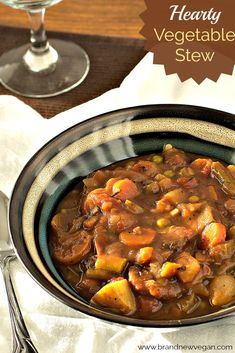 A Hearty Vegetable Stew chock full of healthy starches, veggies, mushrooms, and a rich savory broth. Paired with a thick slice of homemade bread - perfect. Vegan Stew, Vegan Soups, Vegetarian Recipes, Healthy Recipes, Vegetarian Stew Crockpot, Vegetable Stew Crockpot, Veggie Stew Recipes, Vegetable Casserole, Mushrooms