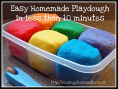 "I have personally made this recipe dozens of times and even if you just keep the Playdough in a Ziploc bag, it lasts for forever!  There is no reason to buy the ""real"" stuff.    - 1 cup flour  - 1 cup water  - 2 teaspoons cream of tartar  - 1/3 cup salt  - 1 tablespoon vegetable oil  - Food coloring    (Tip from me:  To make for more even coloring, add the food coloring to the water before you add the water to the rest of the ingredients)."