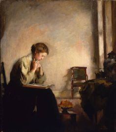 """Girl Reading,"" Edmund Charles Tarbell, 1909, oil on canvas, 28 x 24-1/4"", Palmer Museum Collection. This is a study for the painting of the same name in the Museum of Fine Arts, Boston."