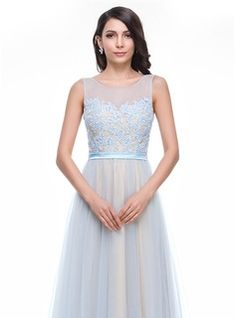 A-Line/Princess Scoop Neck Court Train Tulle Charmeuse Prom Dress With Lace Beading Sequins (018059411) - JenJenHouse