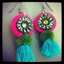 Pink and olive tassel earrings by Alicia Hanson Jewelry