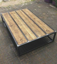 Revive Joinery - Custom reclaimed wood coffee table with box steel frame. Industrial Design Furniture, Industrial Interiors, Rustic Furniture, Furniture Design, Industrial Metal, Industrial Table, Garden Furniture, Outdoor Furniture, Cheap Furniture
