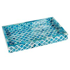 Turquoise tray with bone inlay and damask design. - Really pretty.