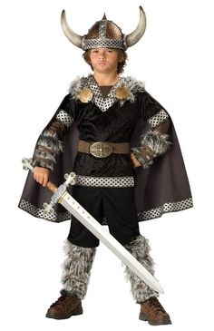 Kids Viking Warrior Costume - A warrior who never looks back! The Viking Warrior Costume a velvety black tunic that features gold and silver accents, a classic Viking helmet, a pair of faux fur boot covers, a brown belt, and a of black pants. Halloween Costumes Party City, Boy Costumes, Group Costumes, Halloween Fancy Dress, Halloween Kids, Character Costumes, Children Costumes, Spirit Halloween, Knight Costume