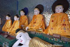 Buddhas at Shwedagon Pagoda in Burma.