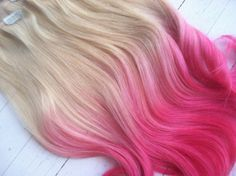 Dip Dye Ombre Hair Extensions Cotton Candy by NinasCreativeCouture