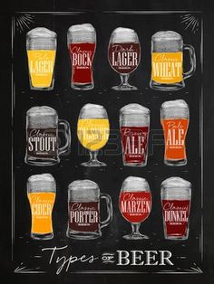 Poster beer types with main types of beer pale lager, bock, dark. Dark Lager, Beer Infographic, Beer Types, Beer Shop, Beer Poster, Beer Tasting, Beer Lovers, Home Brewing, Craft Beer
