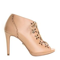 Toffee Thalia Booties ($164) ❤ liked on Polyvore featuring shoes, boots, ankle booties, beige, womenshoesboots, summer boots, studded boots, studded booties, leather boots and beige booties