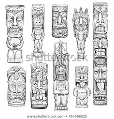 Find Vector Collection Sketches Hawaiian Tiki Idols stock images in HD and millions of other royalty-free stock photos, illustrations and vectors in the Shutterstock collection. Thousands of new, high-quality pictures added every day. Totem Tattoo, Tiki Tattoo, Décor Tiki, Totem Tiki, Tatuagem Azteca, Tiki Head, Tiki Statues, Tattoo Bein, Tiki Decor