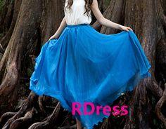 2014 News Bohemian style jewel blue long skirts maxi skirts high quality soft chiffon summer beach skirt women dress in ANY Length