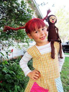 Karnevalskostüme basteln: Pippi Langstrumpf Look schaffen - Kinderschürze nähen und Perücke aus Wolle basteln