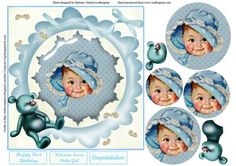 Vintage Baby Blue Card Topper Pyramid Layers on Craftsuprint - Add To Basket!