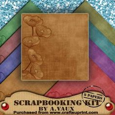 Poppies Vintage 8 Scrapbooking Papers Kit on Craftsuprint - Add To Basket!