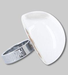 PYLONES - Dome ring MILK blanc