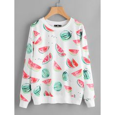 8c2433ceca Allover Watermelons Print Sweatshirt ($20) ❤ liked on Polyvore featuring  tops, hoodies,
