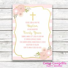 Baptism Invitation Girl, Pink and Gold Baptism Invitation, First Communion Invitation Girl, Christening Invite, Floral Cross Printable