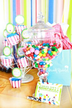Carnival Themed Party, candy bar with other sweets