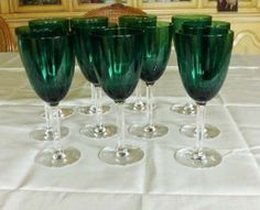 11 Vintage Emerald Green Crystal Water Glass Goblets Clear Cut Stems Excellent | eBay