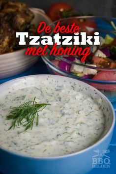 Greek tzatziki with honey - BBQ-Heroes Bbq Grill, Barbecue, Tzatziki Recipes, Honey Bbq, Greek Dishes, Honey Recipes, Food Hacks, Food Print, The Best