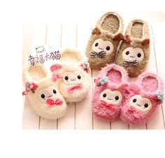 Cute and fluffy sheepy slippers! Pastel ones are suitable for girls while the brown ones also for boys!