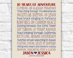 Custom Gift for Adventurous Couple, Typographic Art with Travel Quotes, Together, Anniversary Gift for Any Year, 10th Anniversary | WF478
