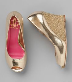 lilly pulitzer gold wedge: comfy for reception without having to switch to flats which would make your dress drag on the ground.